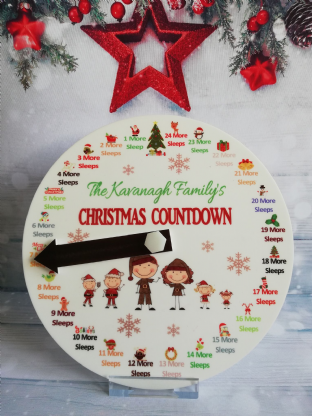 Personalised Countdown to Christmas Clock 1